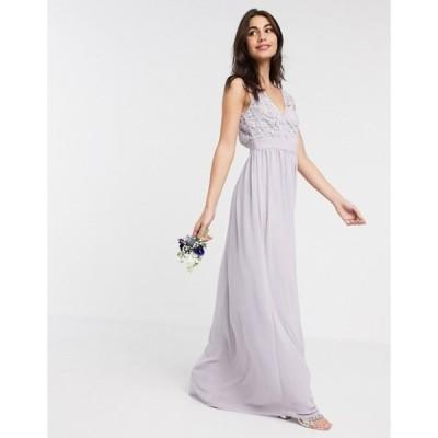 ティエフエヌシー レディース ワンピース トップス TFNC Bridesmaid lace plunge maxi dress with scalloped back in gray