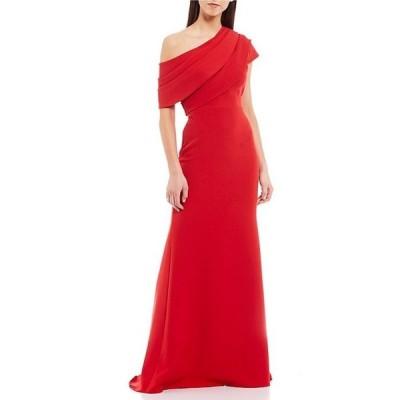バッジェリーミシュカ レディース ワンピース トップス Asymmetrical Off The Shoulder Butter Crepe Gown