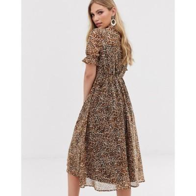ワイエーエス レディース ワンピース トップス Y.A.S leopard print puff sleeve midi dress