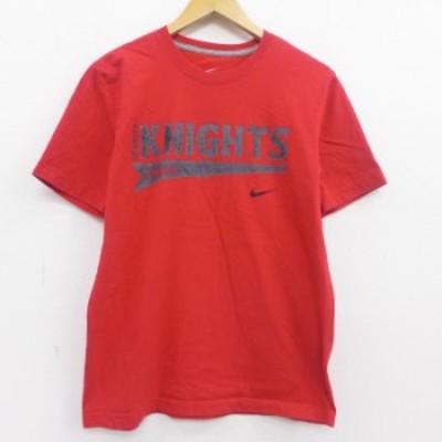 古着 半袖 ブランド Tシャツ ナイキ NIKE KNIGHTS コットン クルーネック 赤 レッド Mサイズ 中古 メンズ Tシャツ 古着