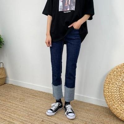 BULLANG GIRL レディース ジーンズ Good roll-up denim pants