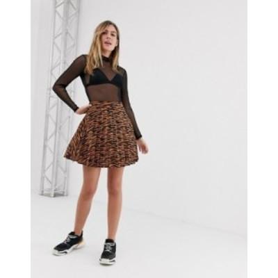 ニュールック レディース スカート ボトムス New Look mini skirt with pleats in tiger print Brown pattern