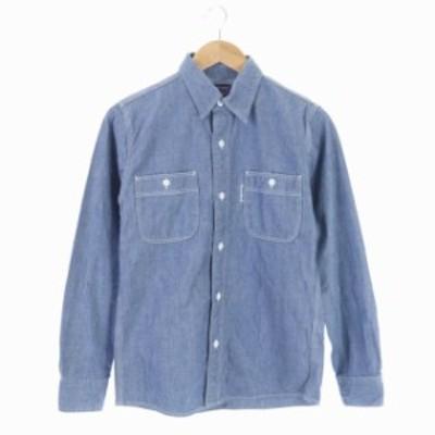 【中古】ブルーブルー BLUE BLUE シャツ 長袖 デニム 胸ポケット 1 青 /AA メンズ