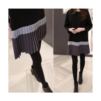 【ブラック】ワンピース スカート プリーツスカート ワンピース バイカラー レディース 韓国 ファッション