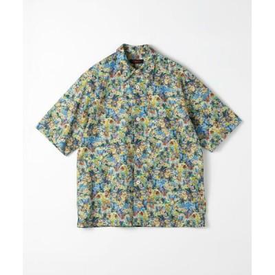 TOMORROWLAND/トゥモローランド CABaN コットン フラワープリントハーフスリーブシャツ 66 ブルー系 M