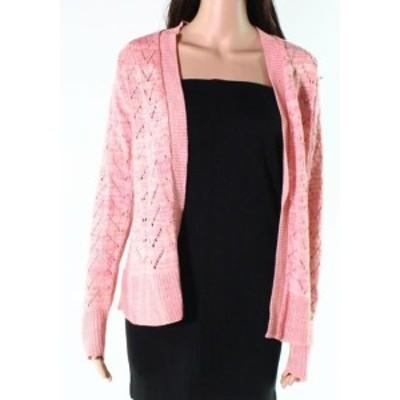 ファッション トップス Truly NEW Pink Womens Size XL Open Front Knit Long Sleeve Cardigan