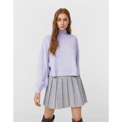ストラディバリウス レディース ニット・セーター アウター Stradivarius high neck cropped sweater in lilac