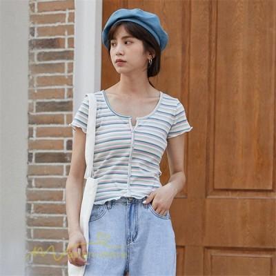 Tシャツtシャツレディース女性着コーデ新作おしゃれ夏Uネックストライプ着痩せ半袖人気ストライプショート丈上品
