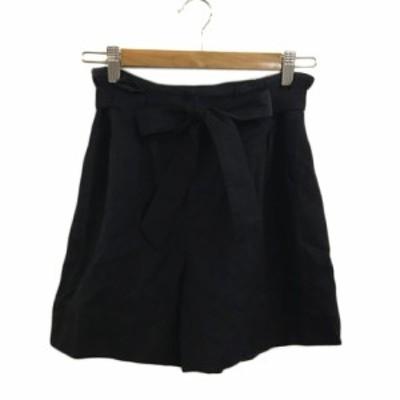 【中古】ボールジー BALLSEY トゥモローランド パンツ ショート キュロット ウール ベルト付き 無地 36 黒 ブラック