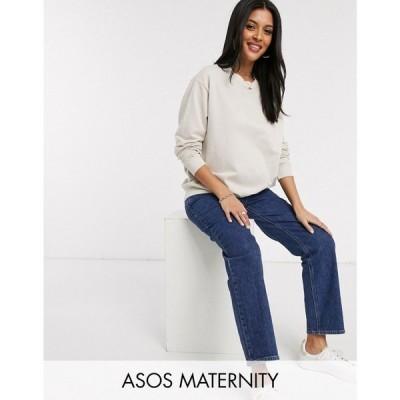 エイソス ASOS Maternity レディース スウェット・トレーナー マタニティウェア ASOS DESIGN Maternity oversized washed sweatshirt in stone ベージュ