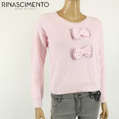 リナシメント(RINASCIMENTO)レディース 長袖ニット ピンク系  前にリボン飾り イタリア製 (サイズ/SM)*rc3008