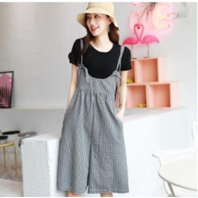 セットアップ オールインワン サロペット ギンガムチェック 韓国ファッション パンツ ワイド かわいい リゾート おしゃれ おでかけ