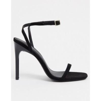 エイソス レディース サンダル シューズ ASOS DESIGN Nova barely there heeled sandals in black micro Black