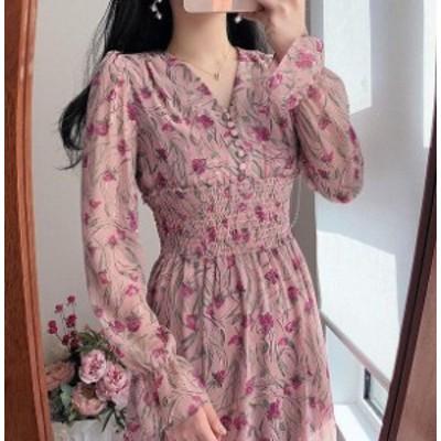 韓国 ファッション レディース ワンピース ロング 花柄 シフォン ハイウエスト シャーリング 長袖 エレガント ゆったり 大人可愛い フェ