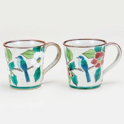 九谷焼 マグカップ 陶器 カップ・酒器  九谷焼 ペアマグカップ ・椿に鳥 サイズ: 径 8.2cm×高 8.5cm 化粧箱入り ギフト