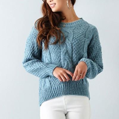 アムールボックス AMOUR BOX ケーブル編みセーター (ブルー)