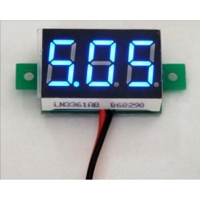 小型デジタル電圧計 青 3.0-30V【簡単2線式/埋め込み型】