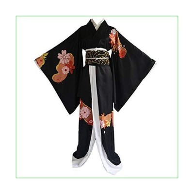 Anime Demon Slayer Kimetsu No Yaiba Cosplay Costumes Kibutsuji Muzan Women Kimono Halloween Carnival Party (L) Black並行輸入品