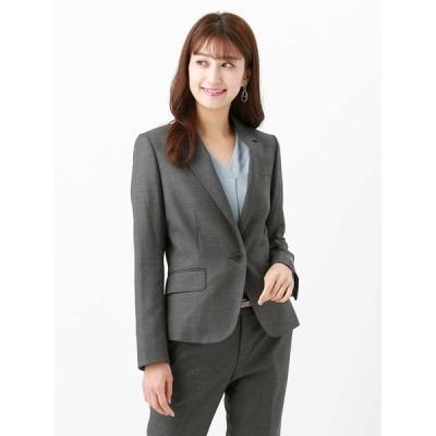 スーツ/レディース/セットアップ/通年/SUPER110'sグレンチェック柄ジャケット/Fabric by REDA/ ミディアムグレー×ボルドー