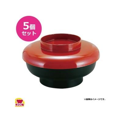 福井クラフト テイクアウト 5.5寸やすらぎ丼 蓋朱塗/親黒 蓋親セット 5個セット(代引不可)