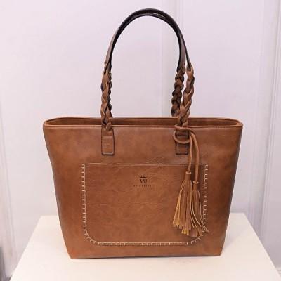 女性ソリッドフェイクレザータッセルトートバッグ大容量ショルダーバッグハンドバッグ