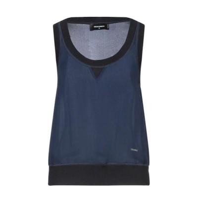 DSQUARED2 シルクトップス  レディースファッション  トップス  Tシャツ、カットソー  半袖 ダークブルー