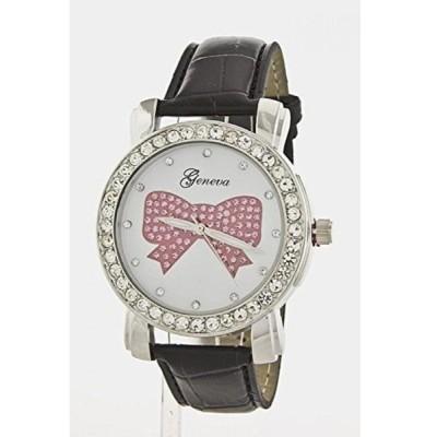 シックチェルシー 腕時計 レディースウォッチ Chic Chelsea Crystal Bow Fashion Watch (Black)