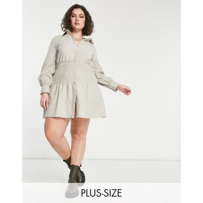 ミスガイデッド レディース ワンピース トップス Missguided Plus mini shirt dress with shirred panel in stone Stone