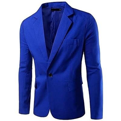 アスペルシオ カラフル 長袖 ジャケット メンズ フォーマル 紳士 アウター シングル ボタン 青色(ブルー, 2XL)