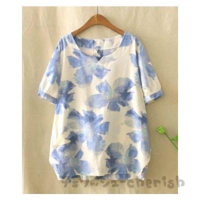リネンシャツ半袖ブラウス綿麻Tシャツ森ガール風カジュアルトップス/ナチュラルゆったり可愛い花柄プリント/エレガント総柄きれいめ