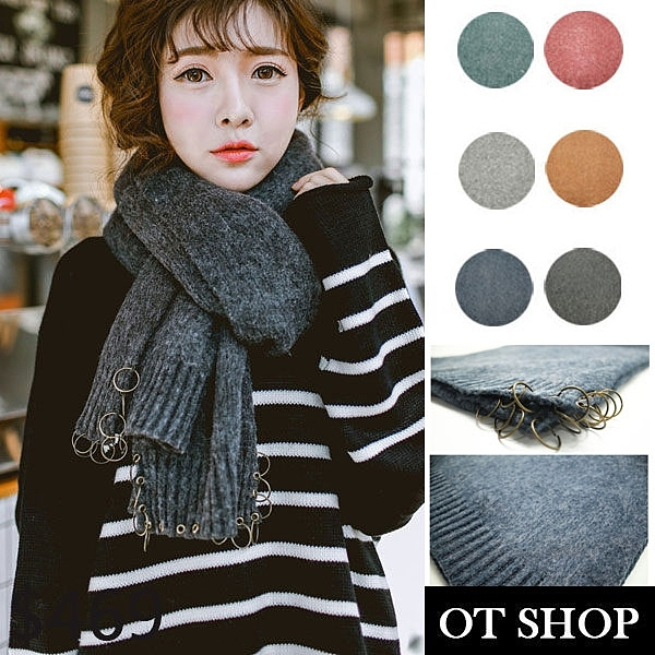 OT SHOP 現貨 圍巾 秋冬 素色混紗 毛料圍巾 學院風 個性圓扣環 灰色 D1913