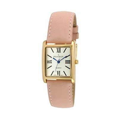 Peugeot Women's 14K Gold Plated Tank Leather Dress Watch with Roman Numerals Dial, Pink並行輸入品