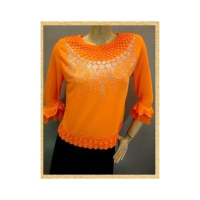 コーラス衣装 発表会衣装 刺繍 ジルコントップス ゆったり(身幅約95cm)Mサイズ オレンジ