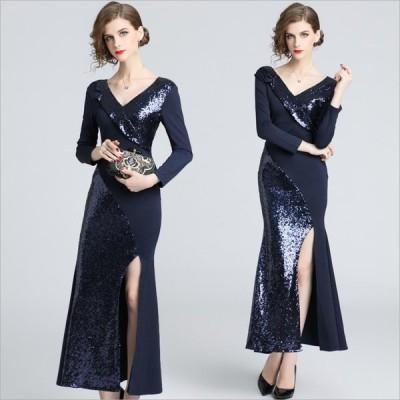 S〜3L パーティー 二次会 披露宴 豪華イメージ キラキラスパンコール ドレス ワンピース