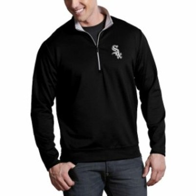 Antigua アンティグア スポーツ用品  Antigua Chicago White Sox Black Leader Quarter-Zip Pullover Jacket