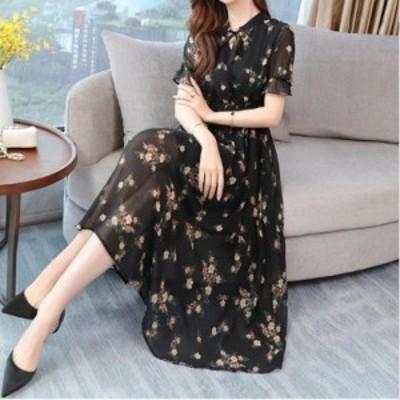 レディースファッション 熱い販売の半袖プリントシフォンドレス夏の女性の新しい腰は薄く、人気のあったカジュアルな大きなサイズミディ