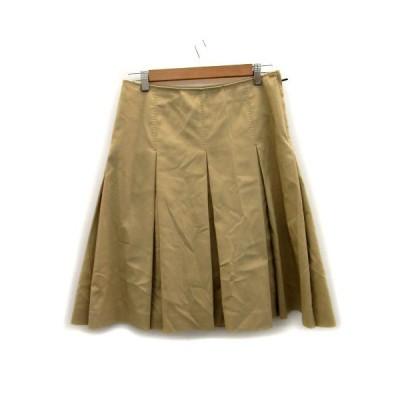 【中古】ポールスミス ブラック Paul Smith BLACK スカート ボックスプリーツ ミモレ丈 大きいサイズ 42 ブラウン 茶色 /MS28 レディース 【ベクトル 古着】