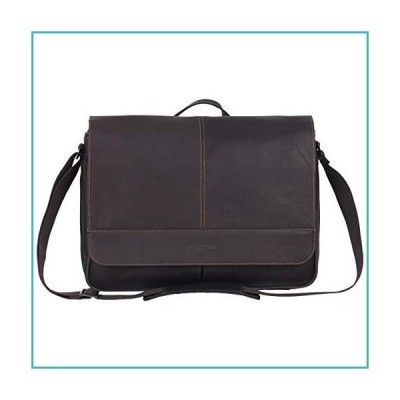Kenneth Cole Reaction Risky Business Messenger Full-Grain Colombian Leather Crossbody Laptop Case & Tablet Day Bag, Dark Brown, One Size【