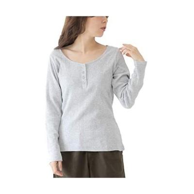 [ハッピー ホヌ] リブ ロンt シャツ ゆったり おおきい サイズ トップス 長袖 レディース (グレー 3L)