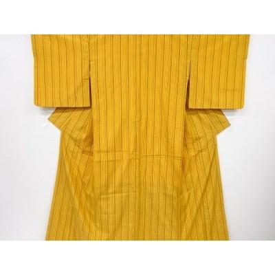 宗sou 縞織り出し手織り節紬着物【リサイクル】【着】