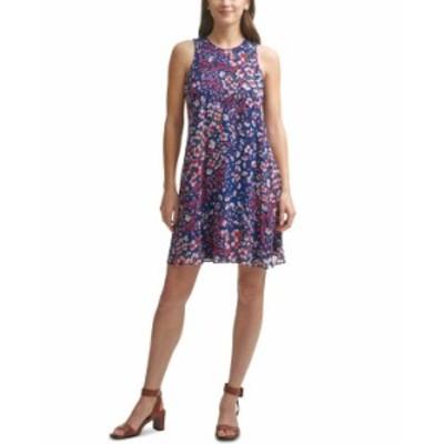 カルバンクライン レディース ワンピース トップス Floral-Print Chiffon Trapeze Dress Indigo/Berry Multi