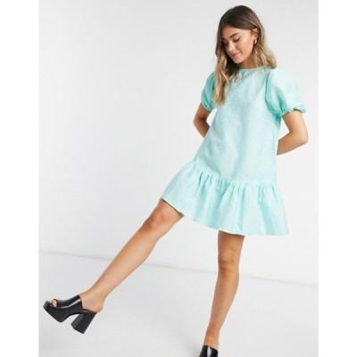 インフルエンス レディース ワンピース トップス Influence jacquard frill hem smock dress in mint