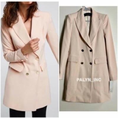ファッション 衣類 RARE_NWT ZARA AW18 BEIGE PINK DOUBLE BREASTED FROCK COAT JACKET 7974/431_XS S L