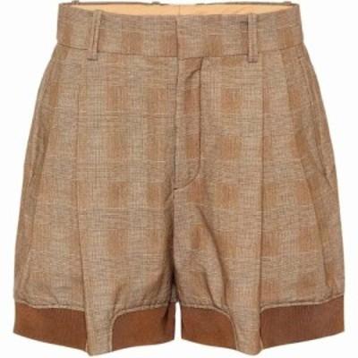 クロエ Chloe レディース ショートパンツ ボトムス・パンツ Checked stretch-cotton shorts Hevea Brown