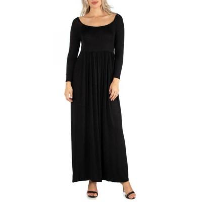 24セブンコンフォート レディース ワンピース トップス Women's Long Sleeve Pleated Maxi Dress