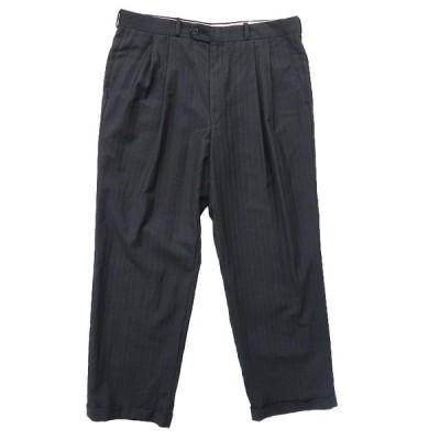 スラックス パンツ ストライプ ツータック ダークグレー サイズ表記:--
