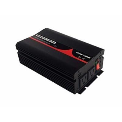 POWCOM 50/60Hz切替可 純正弦波インバーター 定格600W 最大1200W 輸入電圧 DC12v 輸出電圧AC100v 車載充電器 ACコンセント2口 USB1ポート