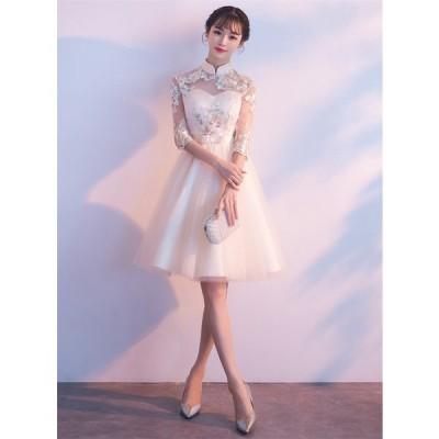 ウェディングドレス ショートドレス パーティードレス 10代 20代 30代 ワンピース おしゃれ フォーマル お呼ばれ カラードレス ワンピ ミニドレス[シャンペン ]
