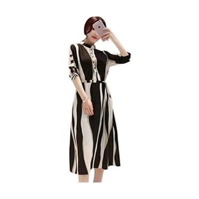 Salon de sante シフォン ドレス ワンピース レディース ストライプ シャツ Aライン パーティー ドレス 結婚式(ブラック M)