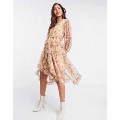 ワイ エー エス Y.A.S レディース ワンピース ワンピース・ドレス ruffle dress with cut out back and dipped hem in floral print フロ